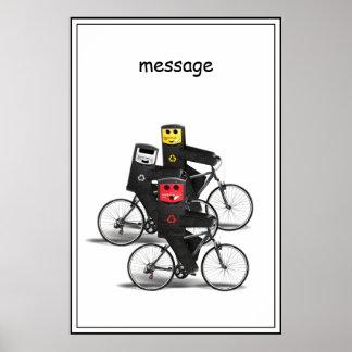 Papeleras de reciclaje de ciclo póster