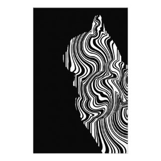 Papelería Abstract Black and White Cat Swirl Monochroom