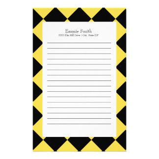 Papelería Amarillo y negro personalizada con a cuadros