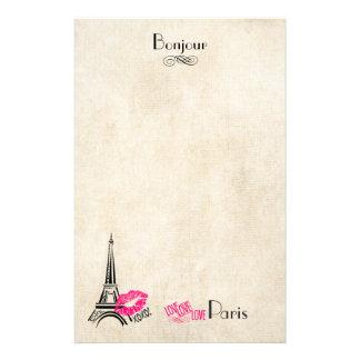 Papelería Amor París con la torre Eiffel en textura del