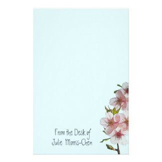 Papelería Azul de la flor de cerezo