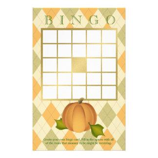 Papelería Bingo de la fiesta de bienvenida al bebé de Argyle