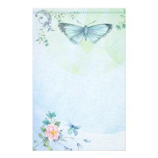 Papelería Bonito de la flor de mariposa del verde azul