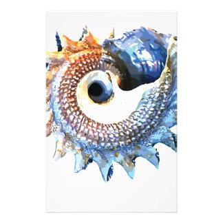 Papelería Camiseta espiral de oro de la yoga del Seashell de