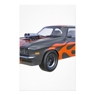 Papelería coche del músculo de los años 70 en llamas