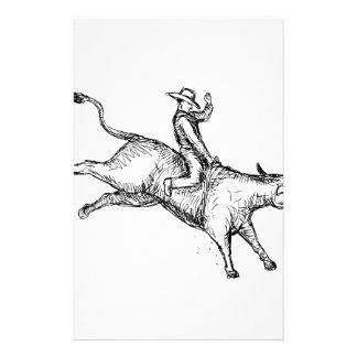 Papelería Dibujo del vaquero del rodeo del montar a caballo