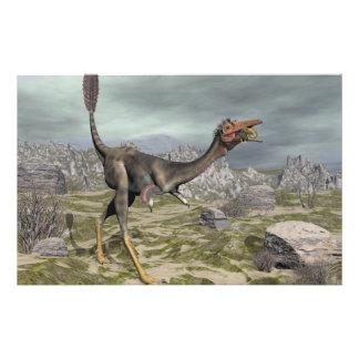Papelería Dinosaurio de Mononykus en el desierto - 3D rinden