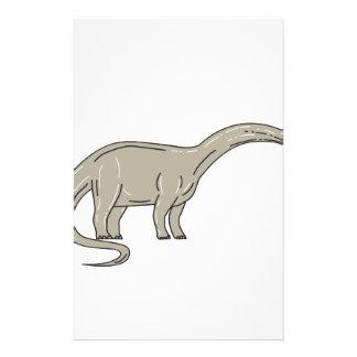 Papelería Dinosaurio del Brontosaurus que mira abajo de mono