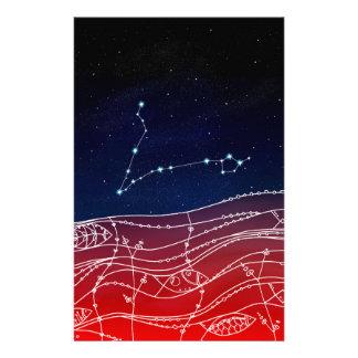 Papelería Diseño de la constelación de Piscis