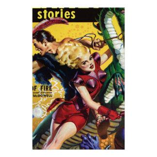 Papelería El Blonde heroico monta un dinosaurio