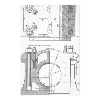 Papelería El gráfico del mecánico industrial del vintage