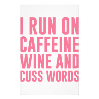 Papelería El vino del cafeína y Cuss las palabras