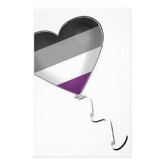 Papelería Globo asexual del corazón del orgullo