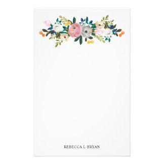 Papelería Guirnalda floral pintada del jardín de la