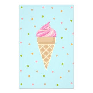 Papelería Ilustracion rosado del helado del vintage