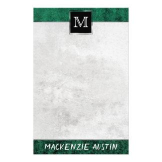 Papelería Jade oscuro de color verde oscuro del monograma