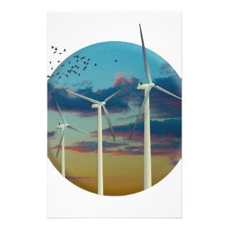 Papelería Las turbinas de viento pintaron el cielo