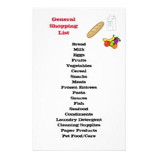 Papelería Lista de compras general