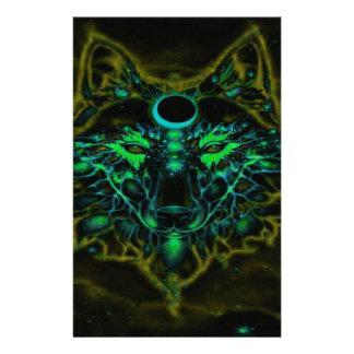 Papelería Lobo amarillo de neón mítico