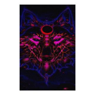 Papelería Lobo azul de neón mítico
