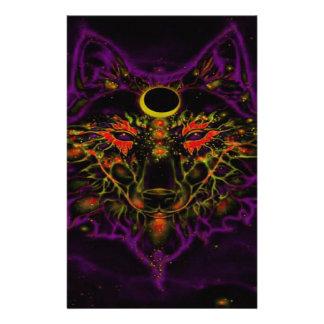 Papelería Lobo púrpura de neón mítico