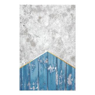 Papelería Madera azul #347 de la flecha concreta