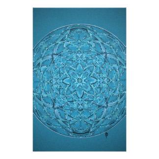 Papelería Mandala azul dibujada mano de encargo