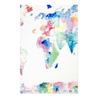 Papelería mapa del mundo del color de agua