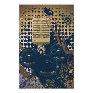 Papelería Música Microphone2 del vintage