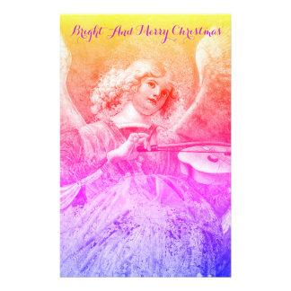 Papelería MÚSICA QUE HACE ÁNGEL navidad azul púrpura rosado