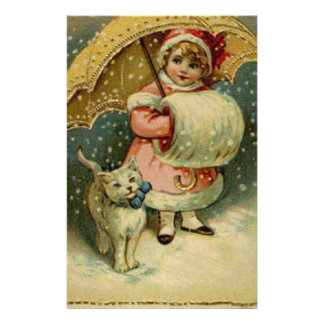 Papelería Navidad retro del niño y del gato del vintage del