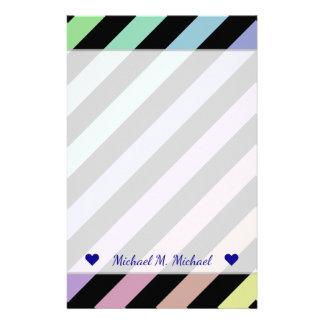 Papelería Nombre + Colores en colores pastel y modelo