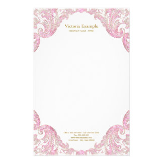 Papelería Oro rosado elegante del oro del remolino rosado