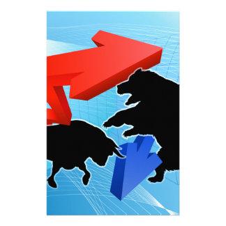 Papelería Osos contra concepto del mercado de acción de los