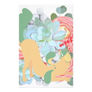Papelería Perro hacia abajo con las flores
