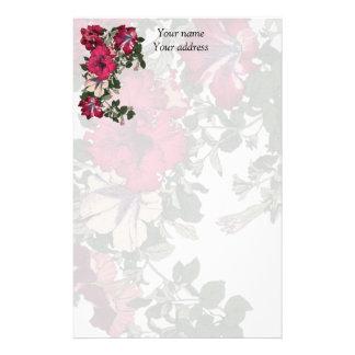 Papelería Petunias rosadas y rosas claras oscuras rizadas