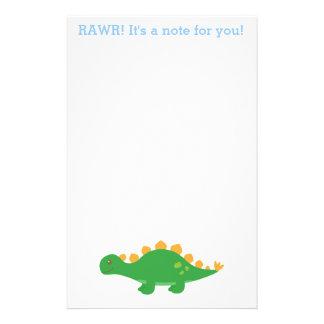 Papelería Rawr, dinosaurio verde lindo del Stegosaurus