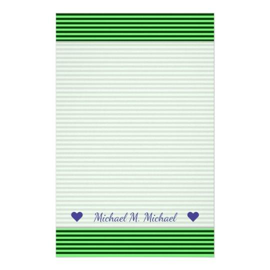 Papelería Rayas/líneas verde oscuro y verdes claras modelo