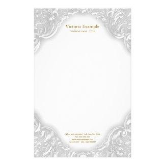 Papelería Remolino de lujo elegante del oro blanco