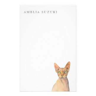 Papelería Retrato de la acuarela del gato de Sphynx con