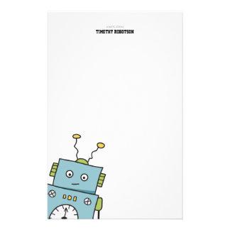 Papelería Robot dibujado mano azul linda