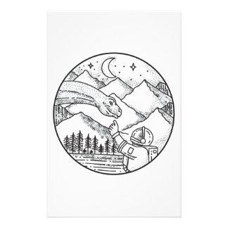 Papelería Tatuaje del círculo de la montaña del astronauta