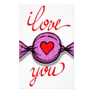 Papelería Te amo (caramelo rosado)