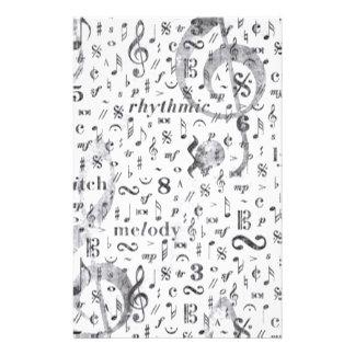 Papelería Tema de la música del modelo de la nota de la