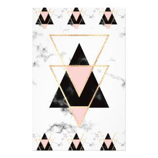 Papelería Triángulos, oro, negro, rosa, mármoles, collage,