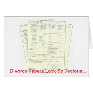 Papeles aburridos del divorcio - tarjeta del el dí