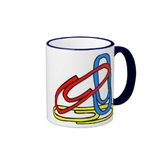 Paperclips coloridos taza de dos colores