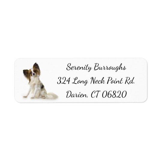Papillon Brown y perro de perrito blanco Etiqueta De Remite