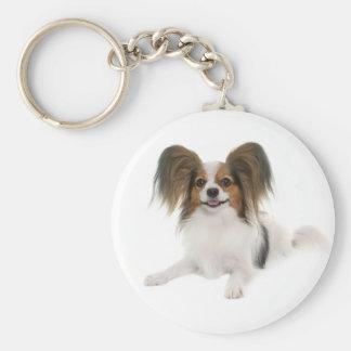 Papillon Brown y perro de perrito blanco Llavero Redondo Tipo Chapa