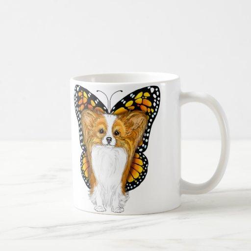 Papillon en disfraz tazas